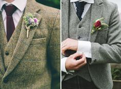 Thick warm fabric for suits are perfect for a winter wedding! #christmas #wedding #winter #ideas #suit #groom #men #tweed #fabric