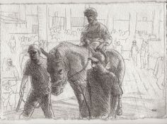 Racing Day #4. 7.5x11in. Horse Racing Drawing #Realism