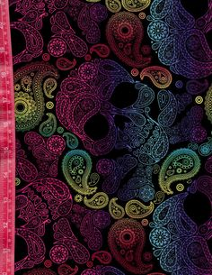 Latin Day of the Dead Head Dia De Los Muertos Paisley Neon Sugar Skulls on Black 100% Cotton Sewing Quilting Fabric By the Yard or Half Yard