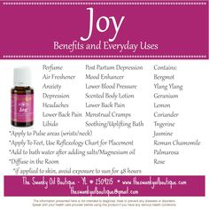 """Bring """"Joy"""" to your life with this essential oil!!  Check out this blog for just a few of the ways you can use Joy!!"""