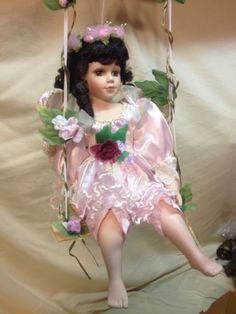 Hanging porcelain #angel doll on swing #cathay collection brunette hair #brown ey,  View more on the LINK: http://www.zeppy.io/product/gb/2/381426378858/