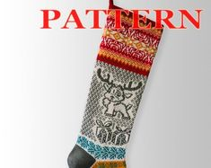 Etsy :: Your place to buy and sell all things handmade Knitted Christmas Stocking Patterns, Knitted Christmas Stockings, Xmas Stockings, Christmas Knitting, Santa Stocking, Patterned Socks, Christmas Deer, Scandinavian Christmas, Knitting Patterns