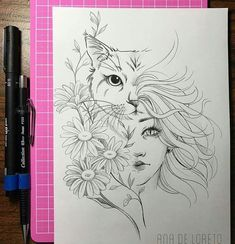 Uploaded by Romanova. Find images and videos about flowers, tattoo and cat on We Heart It - the app to get lost in what you love. Unique Drawings, Art Drawings Sketches Simple, Pencil Art Drawings, Cute Drawings, Cat Tattoo Designs, Sad Art, Animal Tattoos, Fabric Painting, Graffiti