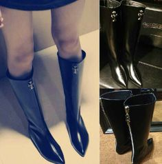 Gram Luo heart boots pointed increased in Leather Flat Boots high boots Knight boots #zarmark