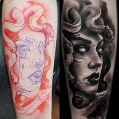 My hyperrealism Medusa done by Kyle A. Scarborough of TWTC in Washington, MO : t. - My hyperrealism Medusa done by Kyle A. Scarborough of TWTC in Washington, MO : tattoos - Tribal Tattoos, Body Art Tattoos, Hand Tattoos, Sleeve Tattoos, Medusa Tattoo Design, Tattoo Designs, Greek Mythology Tattoos, Roman Mythology, Zeus Tattoo