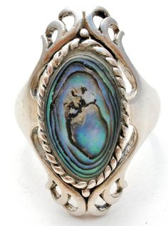 Abalone Shell Sterling Silver Ring Size 6.5 Vintage