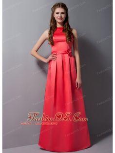 3c3e6beddcf Modest Coral Red Bateau Satin Bridesmaid Dress with Sash-  128.79  https   pinterest