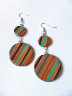 orecchini pendenti cerchio turchese legno di BluanneColorWood