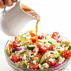 This Mediterranean salad recipe with sun-dried tomato vinaigrette dressing is quick and easy. A healthy Greek chopped salad everyone will love!