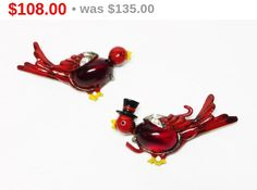 Coro Mr. and Mrs. Bird Scatter Pins  Pair of by thejewelseeker