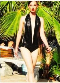 HIGH FASHION BLACK SEQUIN SWIMSUIT/BODYSUIT