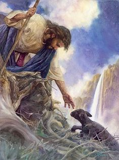 """the glory of our great God and Savior. """"This is a sheep and he is rescued by Jesus. Picture this as you been save by Jesus! God is calling you to be part of his kingdom. Are you going to let God save you, or you are going to save yourself? Lord Is My Shepherd, The Good Shepherd, Jesus Shepherd, Good Shepard, Image Jesus, The Lost Sheep, Christian Pictures, Christian Wallpaper, Prophetic Art"""