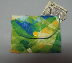 Mini Fabric Wallet Reflections Fabric by AlwaysALittleBehind on Etsy