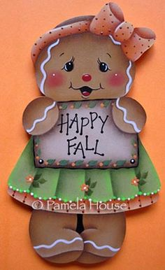 Happy Fall Gingerbread Girl Ornament Blank