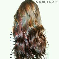 Oil slick Hair by @jamie_unjaded Owner of Everland Hair Studio Vivid color, oil slick, teal hair, pink hair Brunette balayage