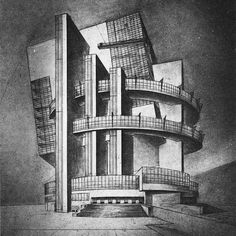 P. Smolenskaia, Diploma project on the theme %22House of the Unions%22 (for 10,000 people), 1928 studio of Nikolai Ladovskii, perspective view2