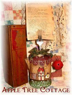 hand painted, vintage coffee pot, prim recipe holder...unique!