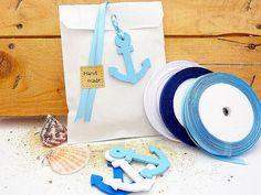 15 Geschenktüten 13x18cm  mit Deko maritim Anker  von SackundPack auf DaWanda.com