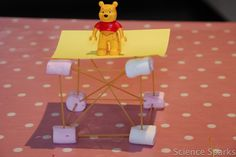 """Spaghetti Towers"": Test the strength of noodles (or toothpicks, etc). Challenge your kids to hold their favorite small toys up with the help of DIY structures!"