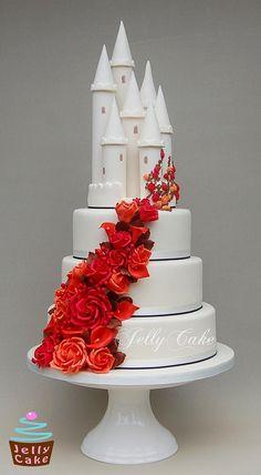 Autumn Castle Wedding Cake | by www.jellycake.co.uk