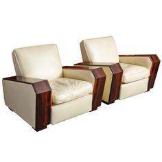 Possible custom made Theatre chairs.  Pair of Art-Deco Armchairs   From a unique collection of antique and modern lounge chairs at http://www.1stdibs.com/furniture/seating/lounge-chairs/
