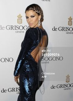 CLAUDIA GALANTI | Cannes Film Festival 2013 | De Grisogono party | she wearing blue long pallets dress by Roberto Cavalli | Make-up & Hair by Elisa Rampi | red carpet, celebrities hairstyle, braid, diamonds in the hair,