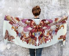 SILK Hand painted Butterflies in Earthy tones, stunning unique and useful, perfect gift