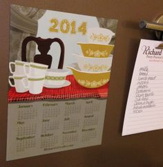 2014 Calendar Magnet Ode to Pyrex by RichardCreative on Etsy, $4.95