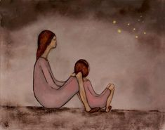 Spring girls pink room mother and daughter portrait by KatHannah, $21.00