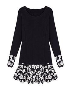 Black Sweet Floral Hem Plus Size Long Sleeve Dress