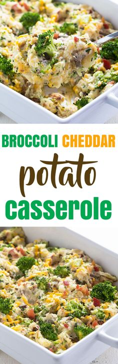 Broccoli Cheddar Potato Casserole - All the flavors of a twice-baked broccoli cheddar baked potato in a casserole!