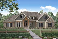Craftsman Style House Plan - 4 Beds 2.5 Baths 2641 Sq/Ft Plan #430-155 Exterior - Front Elevation - Houseplans.com