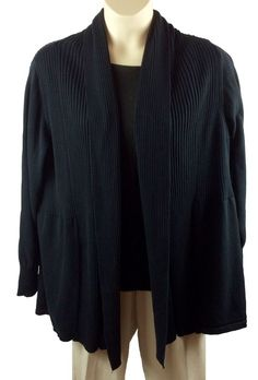 4b1dacef017 Womens St. Johns Bay Open Front Black Cardigan Sweater Plus Size 3X 100%  Cotton