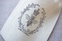Queen Bee Honey Bee Muslin Bag Fabric Drawstring by PaperThyme
