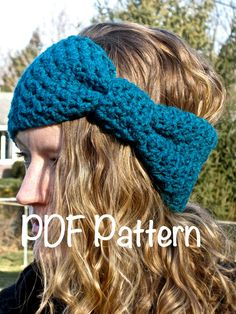 hat+with+bow+crochet+pattern | PATTERN: Bow Ear Warmer, head band, hair band, hat, winter, giant bow ...