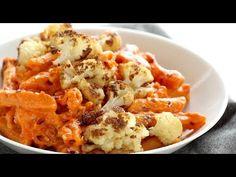 Red Pepper Cashew Pasta with Roasted Cauliflower Recipe - Pinch of Yum