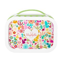 Edit this fun and fabulous design with your own name and monogram for a perfectly personalized lunch box like no other! {{Click CUSTOMIZE to change text colors or fonts}} (C) Melanie Taylor ~~ CreativeMel.com #flowers #pattern #monogram #name #custom #customize #personalized #cat #cats #kitty #lunch #box #student #gift #tween #teen #kid #kids #child #cute #fun #colorful #illustration #birds #girl #girly #pink #stylish #trendy #kitties #garden #dragonfly #bug #bugs #squirrels #mushrooms ...