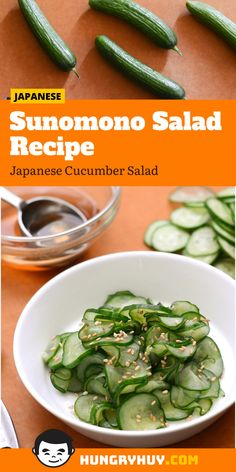 Japanese Cucumber Salad, Easy Cucumber Salad, Cucumber Salad Vinegar, Cucumber Recipes, Easy Salads, Cucumber Ideas, Easy Japanese Recipes, Healthy Recipes, Salads