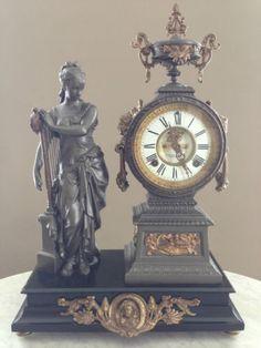 Ansonia-Figural-Open-Escapement-Statue-Clock-Music