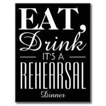Eat, Drink It's a Rehearsal Dinner Chalkboard Postcard