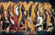 Gli Angeli musicanti, di Hans Memling (Retablo di Nájera, conservato ad Anversa, nel Koninklijk Museum).