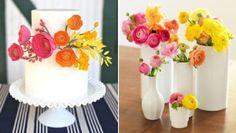 ranunulus cake and centerpiece by jestinemabry