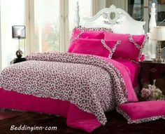 Leopard print bedding Leopard Print Bedding, Pink Bedding, Pink Bed Sheets, Comforters, Blanket, Random Stuff, Home, Creature Comforts, Random Things