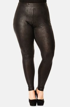 Plus Size Wet Look Lace Leggings