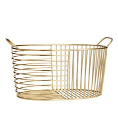 Oval metal wire basket with two handles. Size 6 x 8 x 11 in.  sc 1 st  Pinterest & Gold-colored. Storage basket in metal with mesh sides. Size 3 1/2 x ...