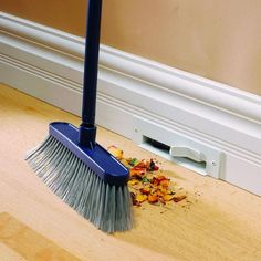 Vacuum on the floor board, genius! Aerus VacPan  http://www.aerusvacuums.com/centralvacuum/vacpan.cfm