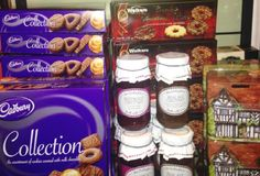 Cadbury selection boxes, chutneys, and tins of toffee and fudge