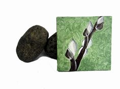 Miniature painting on canvas Pussy Willow branch by Treelovergirl, $18.50