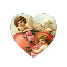 antique  and vintage .victorian cards | Sticker Vintage Victorian Valentine Cupids Hearts from Zazzle.com