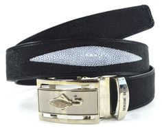 +ThaiPremiumHouse+3 EYEs SKIN GENUINE STINGRAY LEATHER MEN'S BELT BLACK Size 40 NEW